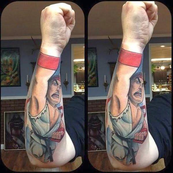 Ryu (Street Fighter) - tatuaż na przedramieniu